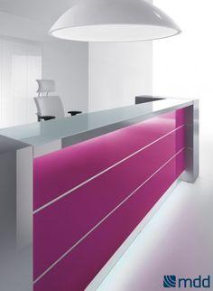 VALDE Linear Reception Desk, High Gloss Fuchsia