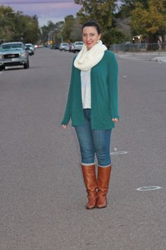Teal Cardigan + Infinity Scarf + Graphic Tank + Skinny Jeans + Boots #outfit #fashion #ootd