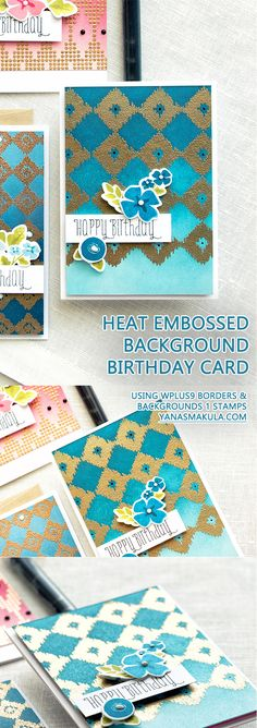 WPlus9   A Background Study (Take Three): Heat Embossing & Ombre. Video tutorial. Create beautiful Birthday cards using background border stamps. Created using WPlus9 Borders & Backgrounds 1 and WPlus9 Borders & Backgrounds 4 Stamps.