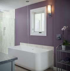 Water falls from the ceiling into this tub while the wall is protected by a Corian backsplash