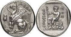 Silver Stater from Abdera, Thrace, c. 411/10-386/5 BCThe figure of Herakles on the reverse of this coin is considered to be one of the finest depictions of him in Greek coinage. The composition, although showing him at rest, clearly illustrates his power and strength. The griffin on the obverse is shown as if it is at the moment of landing, as its wings are slightly open giving the impression that they are still lightly fluttering. This stater of Abdera is one of the finest engraved of that…