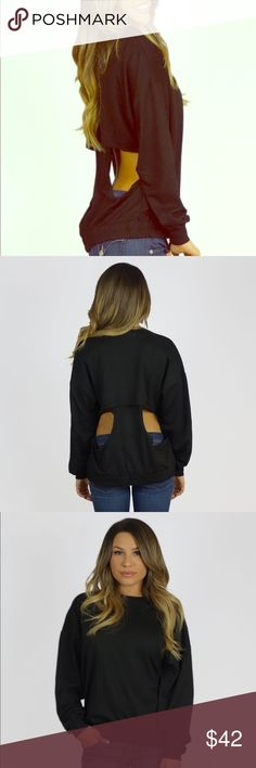 b9544da9dae Rehab Open Back Sweater Perfect little black sweatshirt with a surprising  sexy twist. Free Vibrationz