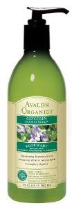Avalon Rosemary Glycerin Hand Soap, 12-Ounce Bottles (Pack of 3) by Avalon Organics. $19.96. Perfect for frequent washing. Gentle, effective cleansers blended with moisturizing glycerin and certified organic peppermint cleanse, refresh and moisturize hands.. Benefits all skin types. Formulated with a special blend of gentle, plant-based cleansers, our certified organic herbal blend, certified organic essential oils, our signature vitamin and amino acid complex s...