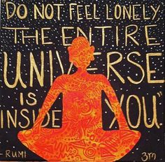 Do not feel lonely, the entire universe is inside you.  -- Rumi - www.awakening-intuition.com