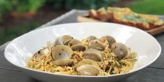 SUMMER ITALIAN DINNER—LINGUINE WITH CLAMS Little Neck Clams, Juice Of One Lemon, Dry White Wine, Linguine, Sourdough Bread, How To Cook Pasta, A Food, Serving Bowls, Food Processor Recipes