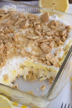 No Bake Lemon Dessert Lasagna has a Golden Oreo crust and is full of lemon flavor from pudding and curd. It's the BEST EVER lemon dessert recipe! I absolutely love no bake dessert lush recipes like th Lemon Dessert Recipes, Lemon Recipes, Baking Recipes, Lemon Lush Dessert, Greek Recipes, Pie Recipes, Layered Desserts, Köstliche Desserts, Delicious Desserts