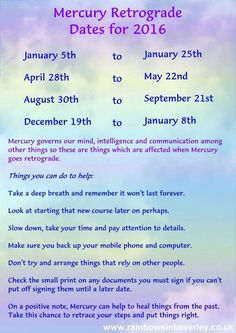 2016 dates for Mercury going retrograde. ;)