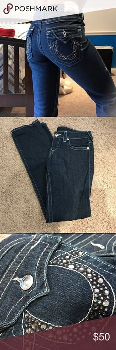 True Religion Rhinestone jeans used maybe once if at all, like new! size 29, Billy fit jeans. bootcut authentic jeans. dark wash in color True Religion Jeans Boot Cut