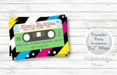 Excited to share the latest addition to my #etsy shop: Cassette invitation, Cassette birthday invitation, Music 80's party, Retro cassette invite, 90's birthday party, Printable tape, Cassettes http://etsy.me/2G5W1fd #papergoods #birthday #cassetteinvitation #tapeinvit