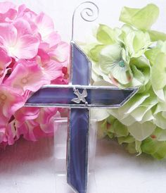 NEW Purple Cross with Dove by MoreThanColors on Etsy, $16.00