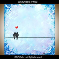 Art painting Abstract Painting blue love birds wall by QiQiGallery