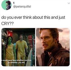 Peter quill - Peter quill Honestly, Quill and Gamora's love was so much purer than I thought it would be and - Funny Marvel Memes, Marvel Jokes, Dc Memes, Avengers Memes, Marvel Dc Comics, Marvel Heroes, Marvel Avengers, Disney Marvel, Guardians Of The Galaxy