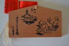 Japanese ema, hand painted or screen printed wood #58 by StyledinJapan on Etsy