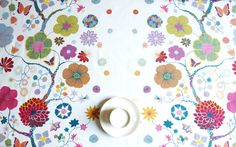 Tablecloth white red purple green Floral Botanical by Dreamzzzzz, $18.00