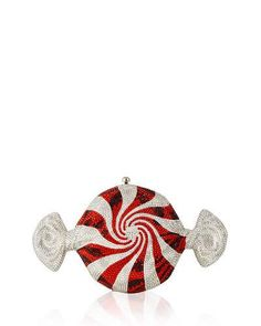 V2PXL Judith Leiber Couture Peppermint Candy Crystal Clutch Bag