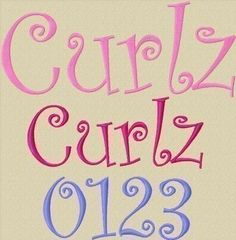 Curlz Embroidery Font in 6 Sizes by 8clawsandapaw on Etsy, $2.95