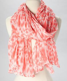 Look what I found on #zulily! The Accessory Collective Coral & White Animal Scarf by The Accessory Collective #zulilyfinds