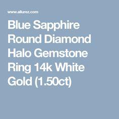 Blue Sapphire Round Diamond Halo Gemstone Ring 14k White Gold (1.50ct)