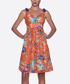 Look at this Elfe Orange Floral Surplice Dress - Women on #zulily today!