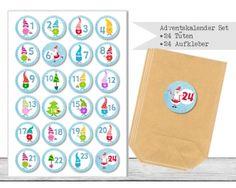 "www.papierbuedchen.de - DIY Adventskalender \"" Tüten & Aufkleber \"" (K43)"