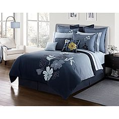 @Overstock - This Nayla bedding set features floral satiny appliques with intricate embroidery against an indigo blue ombre background. The comforter reverses to solid navy.http://www.overstock.com/Bedding-Bath/Nayla-Queen-size-4-piece-Comforter-Set/6325320/product.html?CID=214117 $119.99