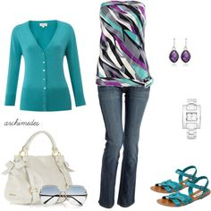 A Little Turquoise, A Little Purple, created by archimedes16 on Polyvore [great color combo!]