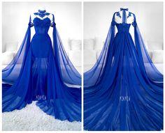 The most beautiful dress ever. #sapphire #blue #cobalt #gown #goth #lace #mesh #train #fashion #alternative #askasu #bluedress #fairy #faerie #elf