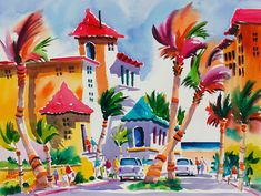 Watercolor Print of Palm Beach Florida 8 x 10 by NegleyWatercolors, $25.00