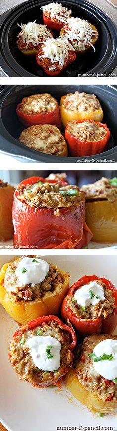 Slow Cooker Mexican Style Stuffed Bell Peppers - so easy and delicious!