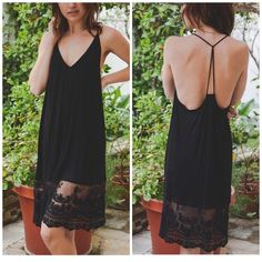 Black Lace Extender Dress Slip dress with T back lace extender dress can be worn as a layering piece or worn as a slip dress . Bralettes listed in my closet would look good under this slip dress too . Nwot sizes S M L please comment for  personal listing . Vivacouture Dresses
