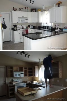 Painting Kitchen Cabinets White using Wagner Paint Sprayer ($ 50) - Full Step-by-Step Tutorial plus lots of source information and tips.