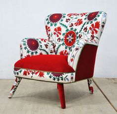 Retro style handmade armchair upholstered with Suzani and velvet fabrics. Beautiful combination of lovely colors. Seat and outer parts are covered with red color velvet fabrics. Beech wood construction and foam rubber are brand new. Frame is made of kiln dried hardwood.  End-to-end Dimensions (cm): width 90 x height 90 x depth 85 cm; seat height 45 cm End-to-end Dimensions (inches): width 35.4 x height 35.8 x depth 33.5; seat height 17,7 inch  ** Address delivery shipping via air freight by…