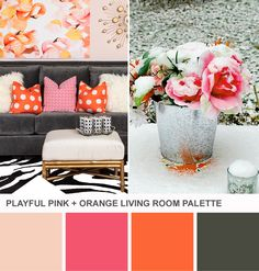 Pink and Orange Living Room Color Palette.