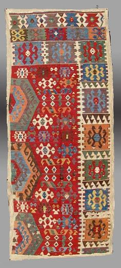 "Anatolian Kilim Fragment, Central Anatolia, late 18th/early 19th Century, 2'11"" x 7'10"" An absolutely beautiful example of textile art. Though the drawing in places loses some of the 'archaic' ..."