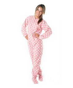 ae24f9379d Footed Pajamas Pink Pretty in Polka Dots Fleece Footie Pajamas - Adult    Plus