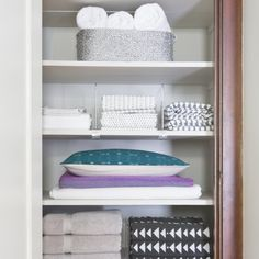 Streamline, organize & style your linen closet with the help of Pro Organizer Shira Gill.