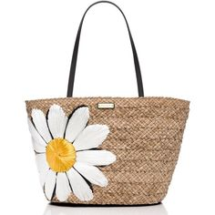 Kate Spade Down The Rabbit Hole Straw Daisy Tote ($167) ❤ liked on Polyvore featuring bags, handbags, tote bags, purses, totes, hand bags, kate spade handbag, kate spade tote, beach tote bags and woven beach tote