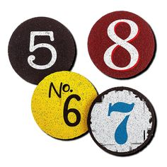 Flox Numeros 5,6,7,8 Rubber Whiskey Coasters ---------------------------------------------------------------------- These are Eco-friendly whiskey coasters made from recycled rubber. They have a rare retro look with number 5,6,7,8 printed in a classic color palette. This is a fun and trendy set, sturdy and easy to clean