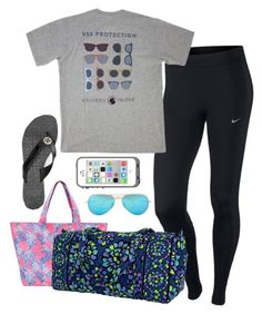 """""""Going to camp//read D"""" by julesnewkirk ❤ liked on Polyvore featuring Lilly Pulitzer, NIKE, Vera Bradley, Southern Proper, Ray-Ban and Tory Burch"""