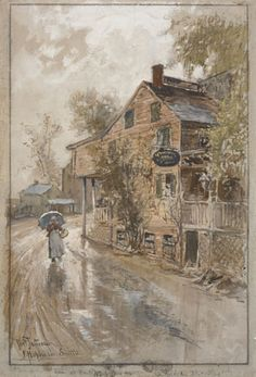 Francis Hopkinson Smith (American, 1838-1915) The House of the Reckless Landlord, 1881 Watercolor, gouache, pencil and charcoal on paper, 16 x 11-1/2 in. Inscribed and signed at bottom left: Port Jefferson / F. Hopkinson Smith. Gift of the Baker/Pisano Collection.  2001.9.226
