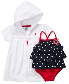 baby girls swimsuit and coverup・carters
