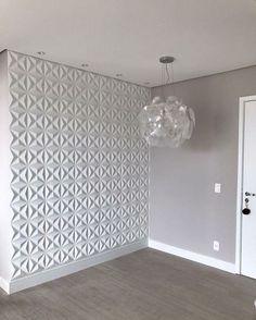 Sala Cinza com parede 3D . . #salacinza #parede3d