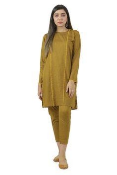 EGO Winter Basic Embroidered Kurta & Pants Designs consists of simple & light embroidery 2 piece kurta & bottoms, flared frocks, kurtis, shirts, Fancy Dress Design, Stylish Dress Designs, Stylish Dresses For Girls, Simple Dresses, Frock Design, Pakistani Fashion Casual, Pakistani Dresses Casual, Pakistani Dress Design, Eid Dresses