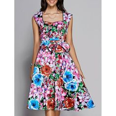 Retro Women's Colorized Floral Sleeveless Sweetheart Neck Dress