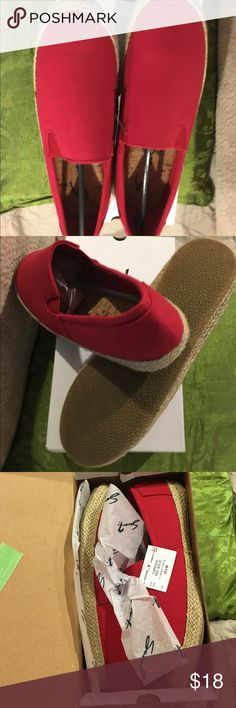 Brand New in box Sz10 Red canvas flats with elastic Brand New never worn! Great shoe Seven7 Shoes Espadrilles