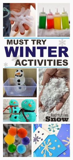 50 fun Winter activities for kids including crafts, play recipes, art, science, & more.  These are the best I've seen! http://www.growingajeweledrose.com/2013/11/winter-activities-for-kids.html?m=1