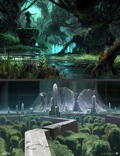 Destiny: Black Garden Sketches, Dorje Bellbrook on ArtStation at… Fantasy Art Landscapes, Fantasy Landscape, Landscape Art, Fantasy Concept Art, Fantasy Artwork, Environment Concept Art, Environment Design, Fantasy Places, Fantasy World