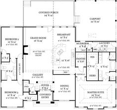 First Floor Plan image of Old Wesley House Plan. Needs a true garage not just a carport. Ranch House Plans, New House Plans, Dream House Plans, House Floor Plans, Southern Country Homes, Southern Living, Monster House, One Story Homes, European House