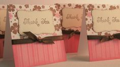 4 Pink 3x3 Thank You Cards by nyra on Etsy