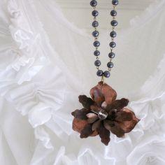 Love this necklace! Vintage brass flower with a modern flair. @Lauren #brigteam #gift $54.00 #vintage #jewelry #necklace #brass #flower